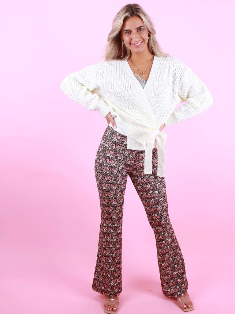 EIGHT PARIS Flared Pants Bloemen Print Roze