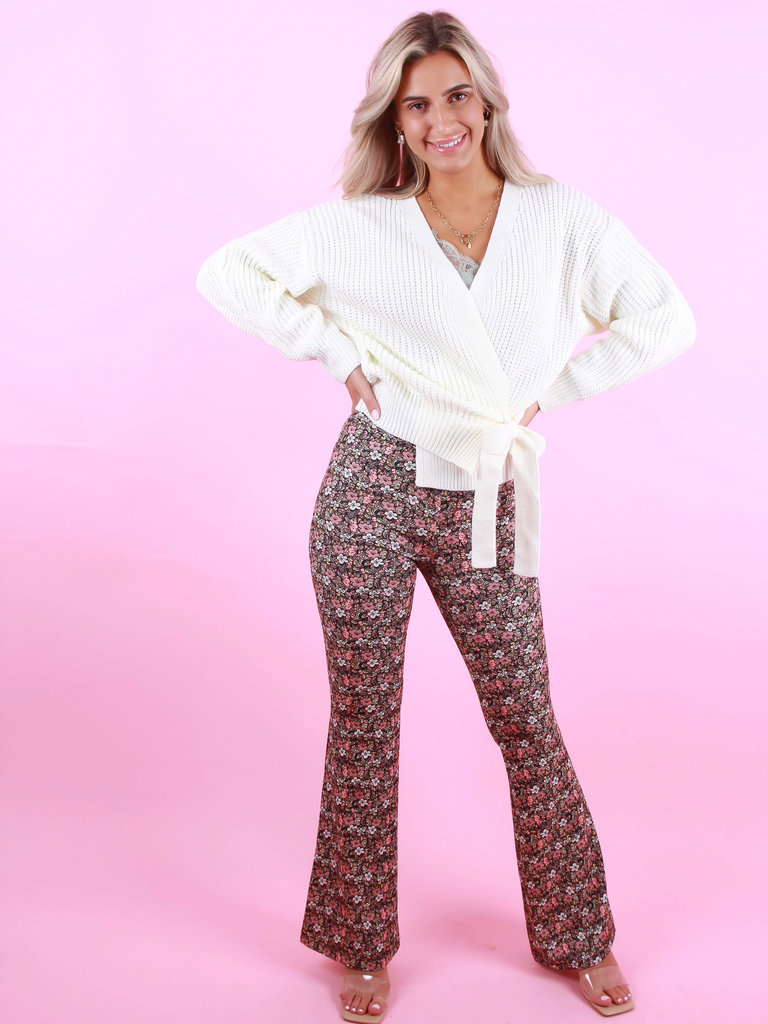 EIGHT PARIS Flared Pants Floral Print Pink