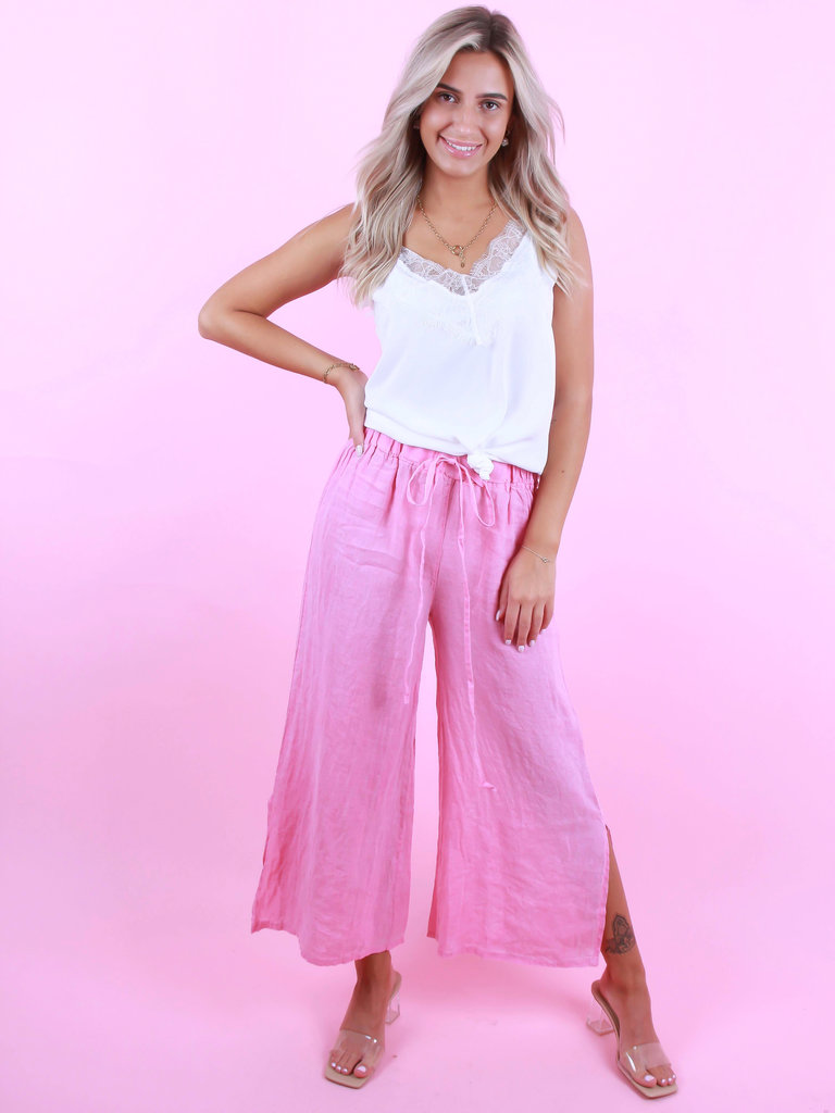 GG LUXE Linen Wide Pants Fuchsia Pink
