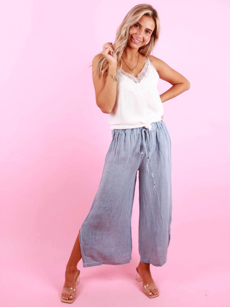 GG LUXE Linen Wide Pants Blue