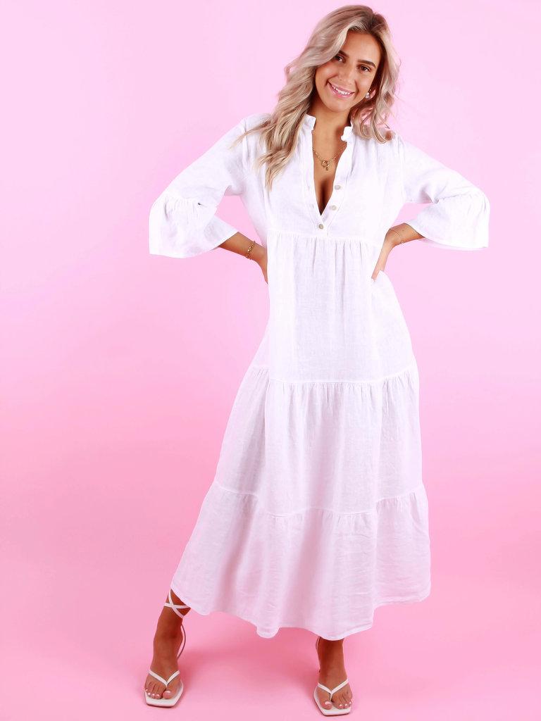 SOLAR Linen Dress Hedwig White