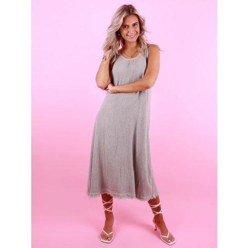 MOMENT Long Linen Dress Grey