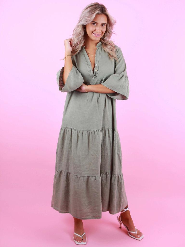 SOLAR Linen Dress Hedwig Green