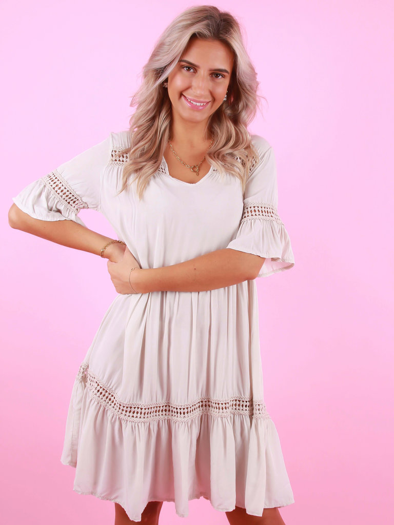NEW COLLECTION Viscose Dress Beige