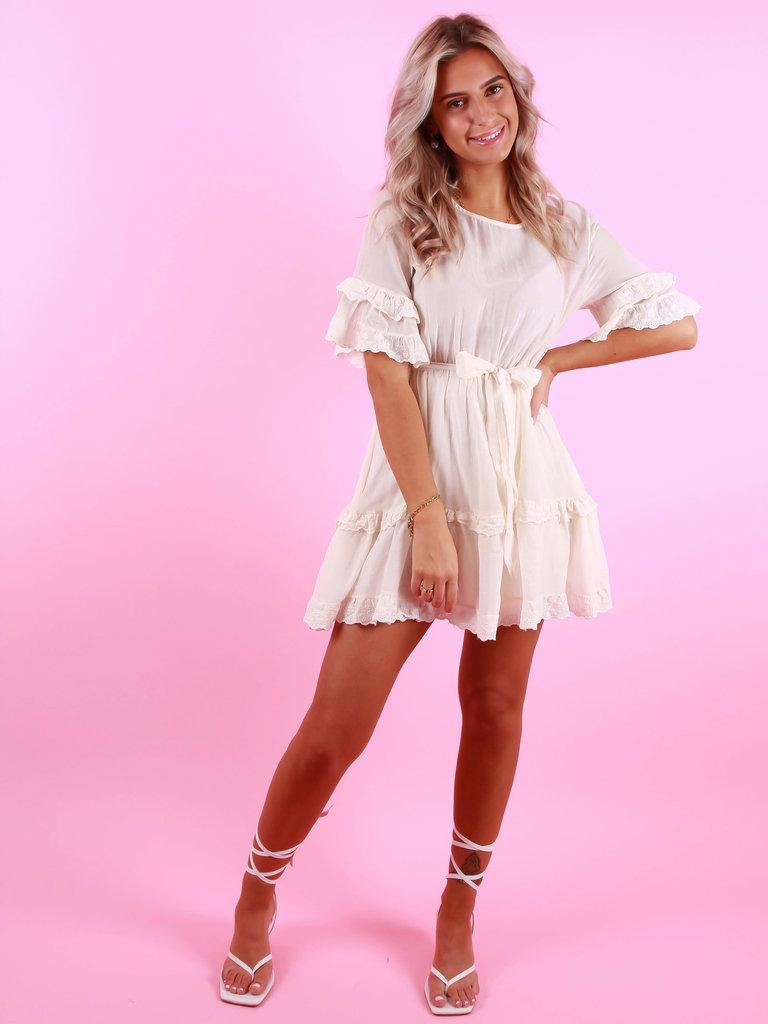 AMBIKA Silk Broderie Dress Ecru