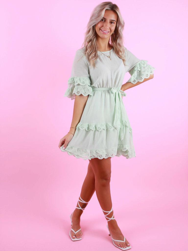 AMBIKA Silk Broderie Dress Mint
