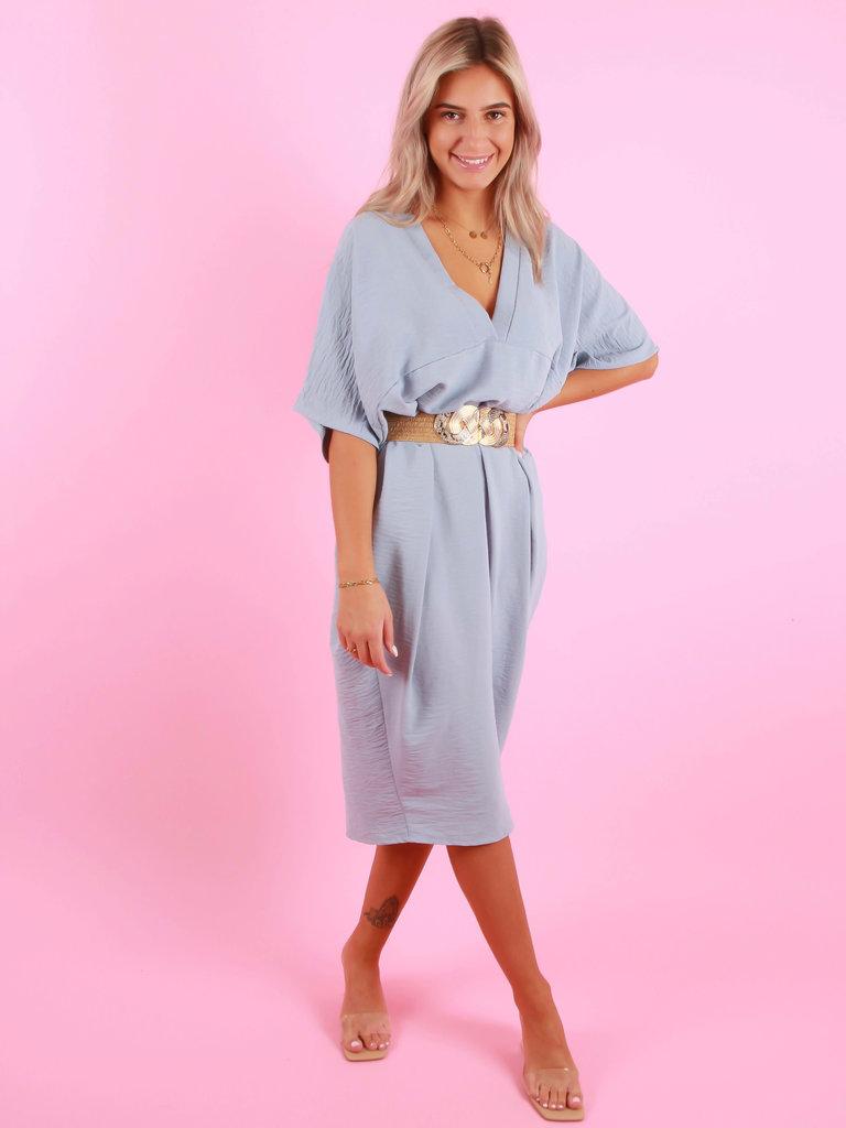 MODA ITALIA Oversized V-Neck Dress Baby Blue