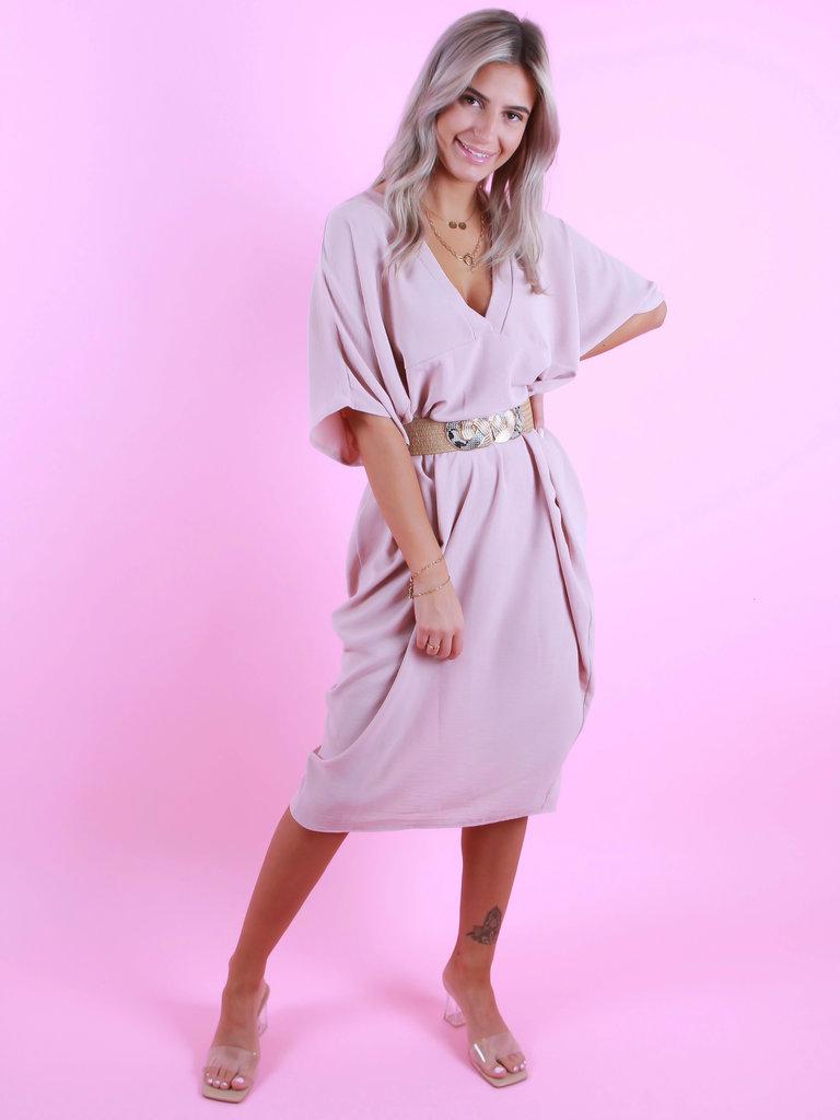 MODA ITALIA Oversized V-Neck Dress Baby Pink