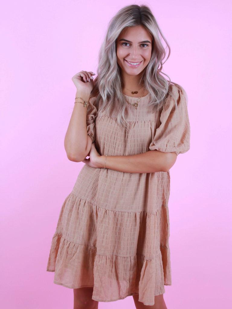 VERA & LUCY Little Stripe Dress Camel
