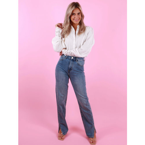 REDIAL Straight Leg Split Detail Jeans Blue