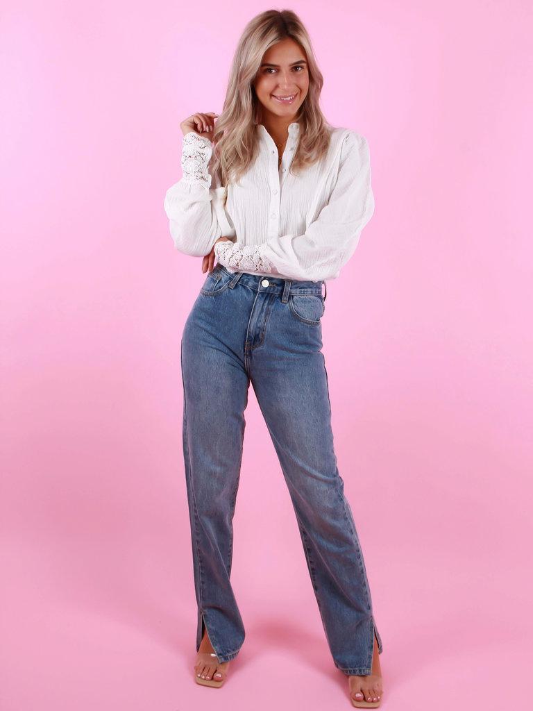 REDIAL Straight Leg Split Detail Jeans Blauw