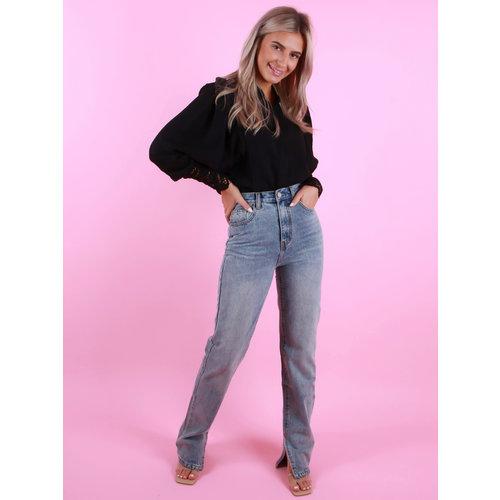 REDIAL Straight Leg Split Detail Jeans Licht Blauw