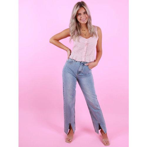 REDIAL Split Hem Straight Jeans Voorkant Blauw