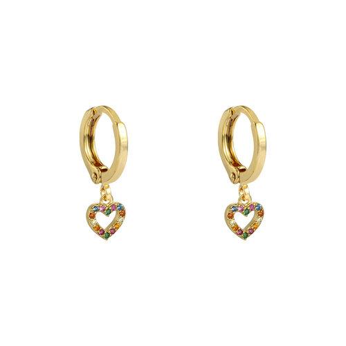 LADYLIKE Earrings Zirconia Heart Gold/Multi
