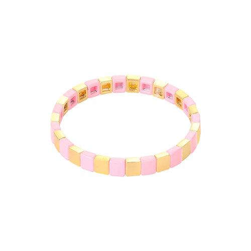 LADYLIKE Armband Colored Bricks Goud/Roze