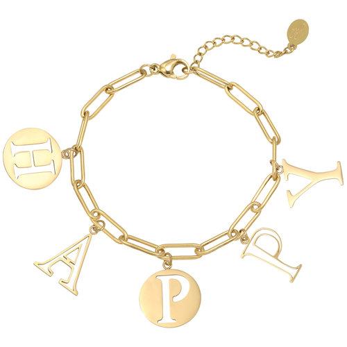 LADYLIKE Armband Letters Happy Goud