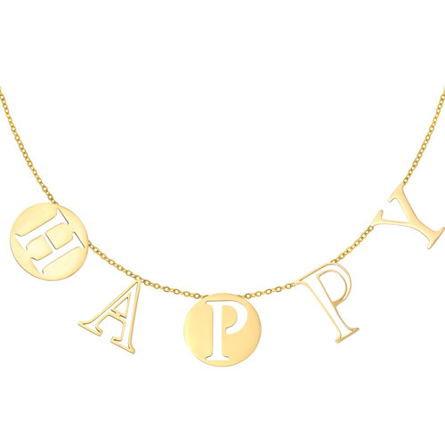 LADYLIKE Necklace Letters Happy Gold