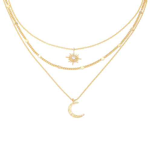 LADYLIKE Necklace Chained Star & Moon Gold