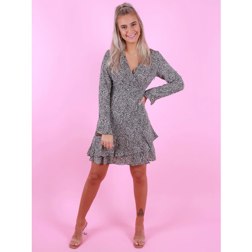 BY CLARA Long Sleeve Printed Dress Grey/White