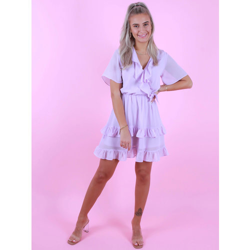IVIVI Wrap Ruffled Dress Lilac