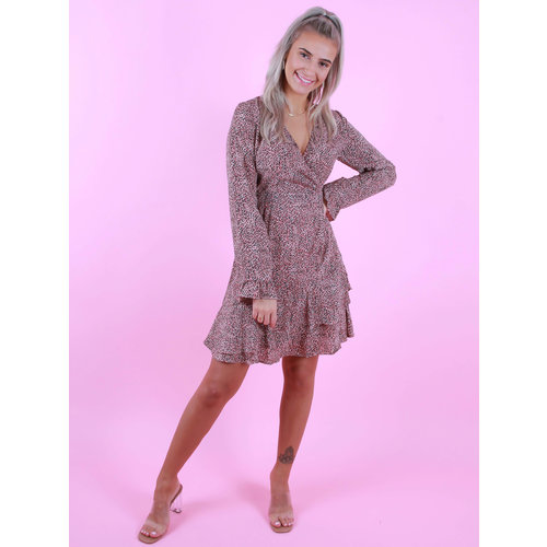 By Clara Long Sleeve Printed Dress Pink/Black