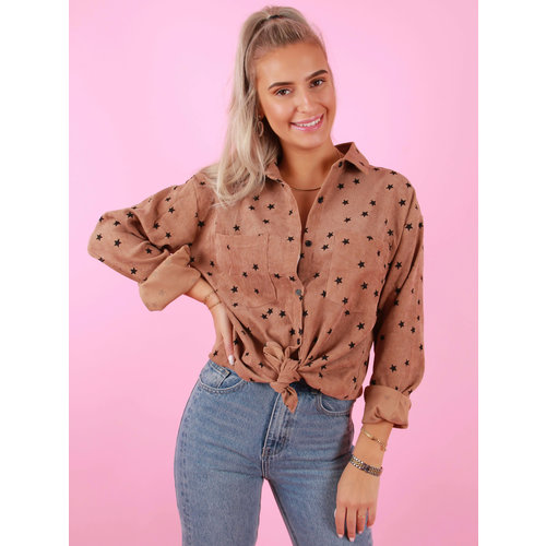 BY CLARA Star Printed Corduroy Blouse Brown