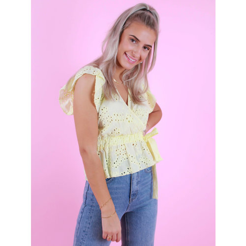 AMBIKA Broderie Wrap Top Yellow