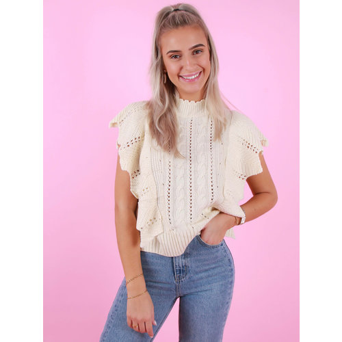 DRŌLE DE  COPINE Knitted Sleeveless Jumper Beige