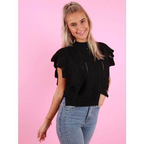 DRŌLE DE  COPINE Knitted Sleeveless Jumper Black