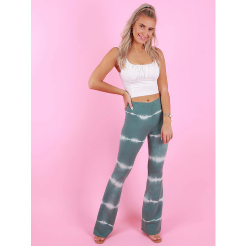EIGHT PARIS Tie Dye Flared Trousers Green