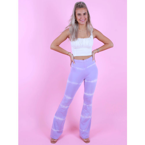 EIGHT PARIS Tie Dye Flared Trousers Lilac