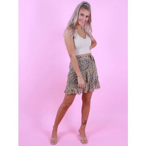 BY CLARA Wrap Skirt Flowers Geel/Roze