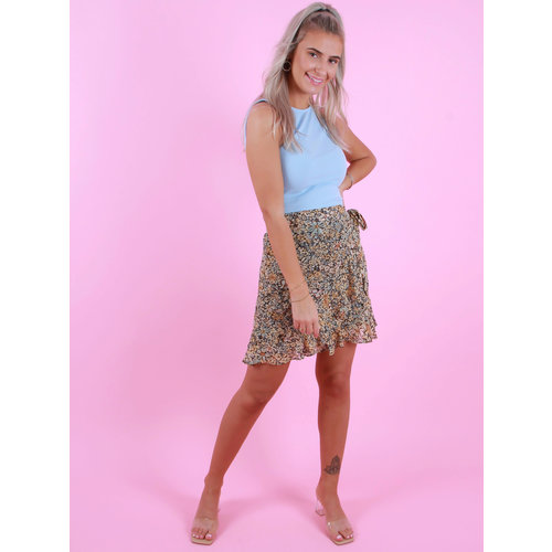 BY CLARA Wrap Skirt Flowers Yellow/Blue