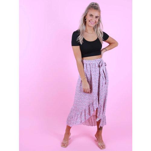 AMBIKA Flower Print Skirt Purple