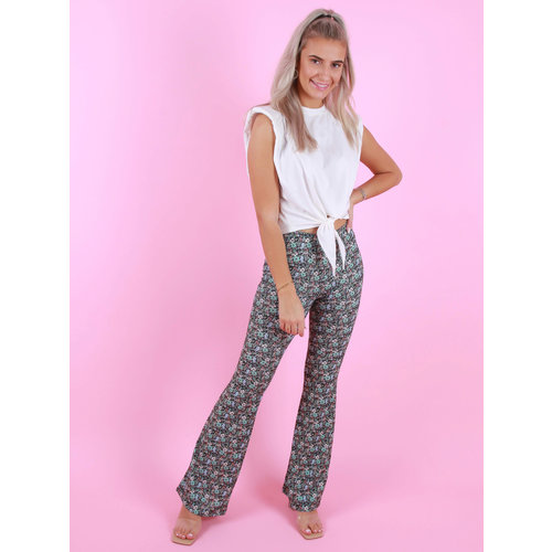 EIGHT PARIS Flared Pants Floral Print Green