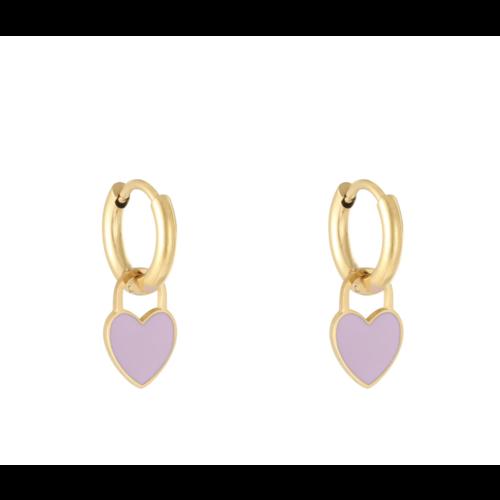 LADYLIKE Earrings Pastel Heart Gold/Purple