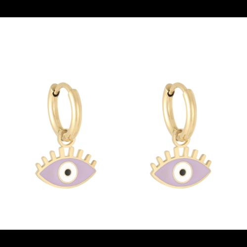LADYLIKE Oorbellen Pastel Eyes Goud/Paars