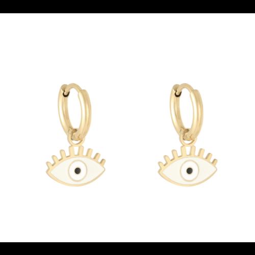 LADYLIKE Earrings Pastel Eyes Gold/White