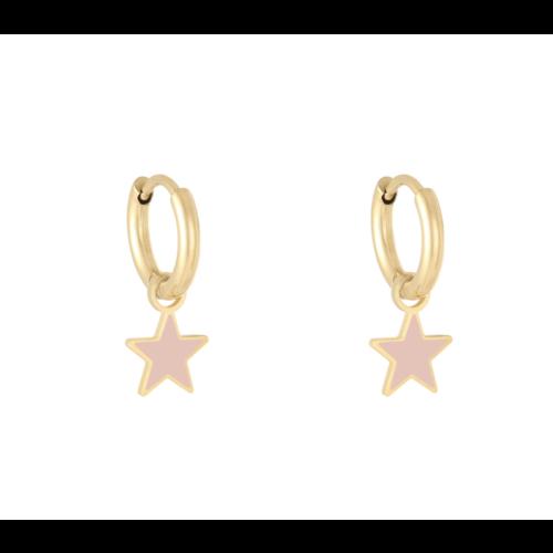 LADYLIKE Oorbellen Pastel Star Goud/Roze