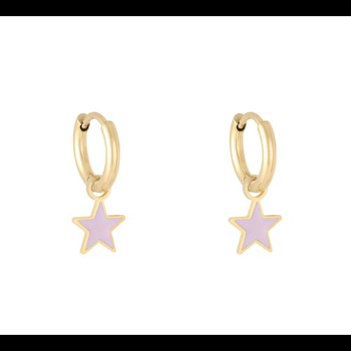 LADYLIKE Oorbellen Pastel Star Goud/Paars