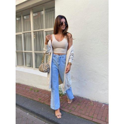IVIVI Straight Leg Split Jeans Blauw