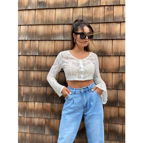 EIGHT PARIS Lace Flared Sleeve Crop Top White