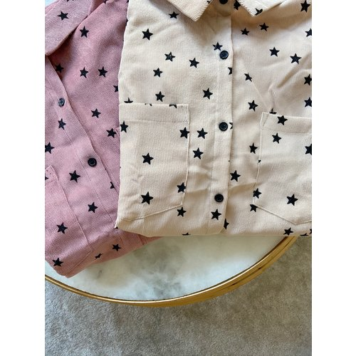 BY CLARA Star Printed Corduroy Blouse Pink