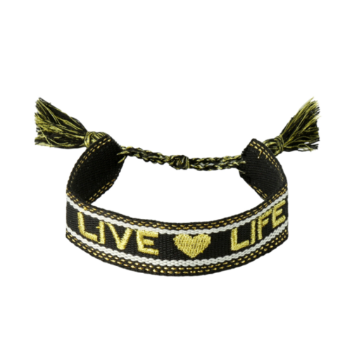LADYLIKE Bracelet Woven Live Life Black