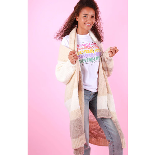 GG LUXE Long Cardigan Beige With Scarf
