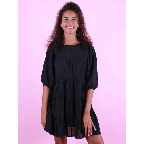 VERA & LUCY Long Sleeve Little Stripe Dress Black