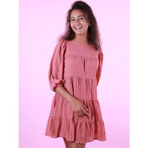 VERA & LUCY Long Sleeve Little Stripe Dress Brique