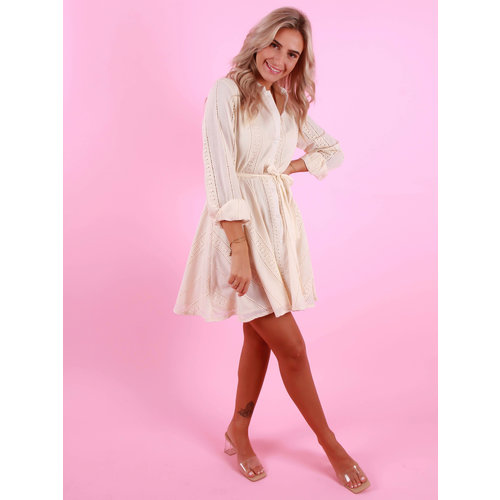 WHITE ICY Dress With Lace Detail Beige