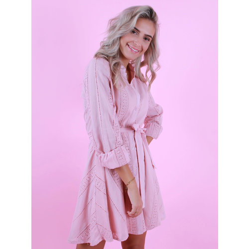 WHITE ICY Dress With Lace Detail Pink