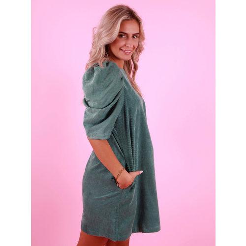 DAPHNEA Rib Dress Puff Sleeve Green
